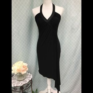 Cache Assymetrical halter v neck dress